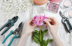 Florist at work. Woman making spring floral decorations of pink Royalty Free Stock Photo