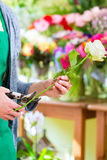 Florist working in flower shop Stock Photo