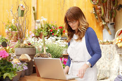 Florist working on laptop Stock Photo