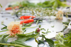 Florist working process. Conceptual photo. Stock Photography