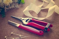 Florist workplace. Tools and accessories. Royalty Free Stock Image