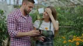 Florista amistoso joven de la mujer que habla con el cliente y que le da consejo mientras que trabaja en centro de jardinería almacen de video