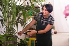 Florista con las herramientas en la tienda que cultiva un huerto Fotografía de archivo libre de regalías