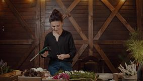Florista de trabajo Woman con la guirnalda de la Navidad Diseñador sonriente lindo joven de la mujer que prepara la guirnalda imp metrajes