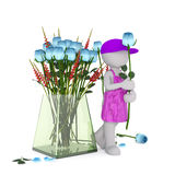 Florista dos desenhos animados com Rose Beside Large Vase azul Fotografia de Stock Royalty Free