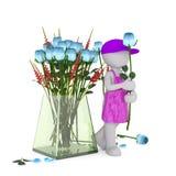 Florista dos desenhos animados com Rose Beside Large Vase azul Fotografia de Stock Royalty Free