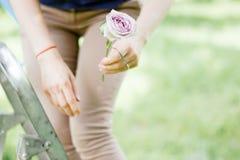 Florista que trabaja con las flores en el parque o el jardín verde fotos de archivo libres de regalías