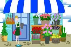Florista Working com grupo de flores diferentes Imagem de Stock Royalty Free