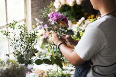 Floristen-Making Fresh Flowers-Blumenstrauß-Anordnung Lizenzfreies Stockfoto