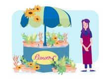 Floristenfrau mit ihrem Blumenshop Vektor Abbildung