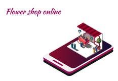 Floristería en línea Smartphone isométrico para los colores que ordenan Entrega de flores por la petición libre illustration