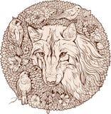 Floristic изображение волк и птицы Стоковое фото RF