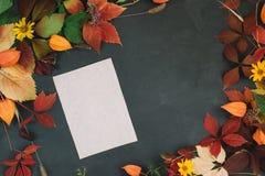 Floristic состав с бумагой ремесла на доске мела, украшенный красный цвет выходит иллюстрация штока