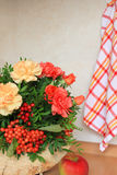 Floristic composition with autumn flowers and berries Stock Photos