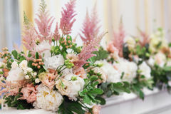 Floristic composition. Bouquets with white peony and pink astilbe Royalty Free Stock Photos