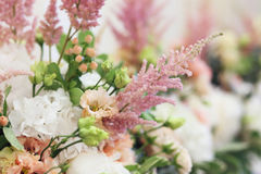 Floristic composition. Bouquets with white peony and pink astilbe Stock Photo