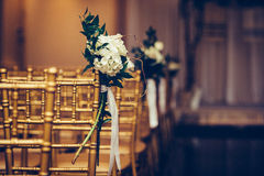 Floristic design on wedding ceremony day. Buch of flowers in wedding hall. Royalty Free Stock Images