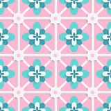 Floristic green and pink tile ornament Royalty Free Stock Photography