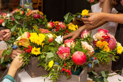 Floristic masterclass. Bouquet arrangement Stock Photos