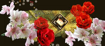 Floristic picture. Rose and blossoming cherry a photoposter on a black background Stock Images