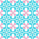 Floristic turquoise and pink tile ornament Stock Images