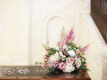 Floristic wedding decoration composition. Floristic composition bouquets with white peony and pink astilbe Stock Images