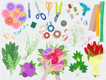 Floristics vector florists hands making beautiful floral bouquet and arranging flowers in flowershop illustration of royalty free illustration