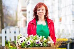 Floristin mit Pflanzen Laden Lieferung vor Royaltyfria Foton