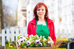 Floristin mit Pflanzen Lieferung vor Laden Royalty Free Stock Photos