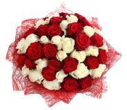 Floristische Anordnung für die weißen und roten Rosen. CompositionFloristic mit Blumenanordnung für die weißen und roten Rosen. Bl Lizenzfreies Stockfoto