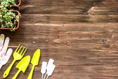 Floristische hulpmiddelenreeks op houten lijst boven mening Royalty-vrije Stock Foto