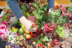 Floristry in autumn. Woman tinkering with autumn fruits Stock Photos