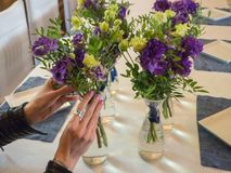 Floristry in the design of the restaurant. Floristry in the design of the restaurant royalty free stock photography