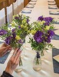 Floristry in the design of the restaurant. Floristry in the design of the restaurant stock photography