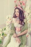 Floristry girl with face art. Stock Photography