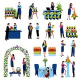 Florists arranging flowers flat icons set. Florists arranging cut flowers and decorating wedding arch with roses flat icons set abstract vector illustration royalty free illustration