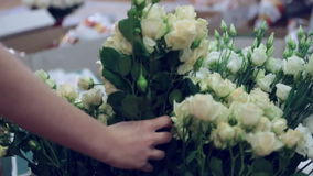 Florists decorate room stock footage