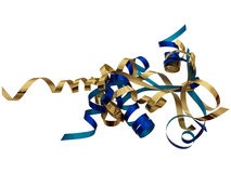 Florists or gift ribbon twirls isolated. Blue and gold ribbon on white background Royalty Free Stock Photography