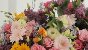 Florists make a huge bouquet from a variety of stock video footage