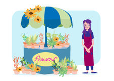 Florists woman with her flowers shop. Vector illustration of florist girl and her flower shop Royalty Free Stock Image