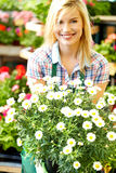 Florists woman working with flowers Stock Image
