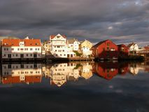 Floro Marina. Evening light in Floro marina, Norway stock image