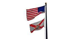 Floryda flaga z flaga amerykańską na białym tle zdjęcie royalty free