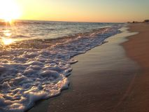Floryda plaża z zmierzchem i fala Obrazy Royalty Free