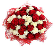 Florystyczny przygotowania białe i czerwone róże. Kwiecisty compositionFloristic przygotowania białe i czerwone róże. Kwieciści sk Zdjęcie Royalty Free