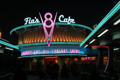 Flos Cafe Sign. Disneyland California Adventure Cars Land Flos V8 Cafe Neon Light Sign Royalty Free Stock Images