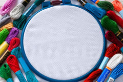 Floss close to the circle for embroidery Royalty Free Stock Photography