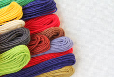 Floss and fabric for embroidery. (colored cotton thread Stock Photography