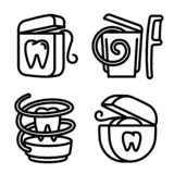 Floss icons set, outline style stock illustration