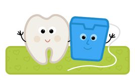 Floss and Tooth. Cute clip-art of a happy tooth and floss standing together. Eps10 Stock Photos